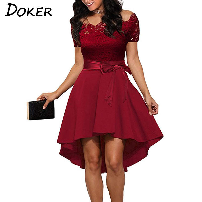 Elegant Red Lace dress Women Patchwork Slash Neck Short Sleeve Sashes Tunic Dress 2018 Summer Ladies Sexy Evening Party Dresses