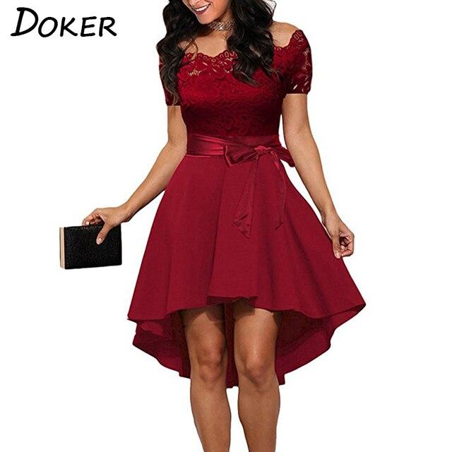 Elegancki Red Lace dress Kobiety Patchwork Slash Neck Krótki Rękaw Sashes Tunika Sukienka 2018 Letnie Panie Sexy Wieczór Party Suknie - aliexpress