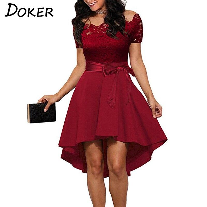 Vestido de encaje rojo elegante de mujer de retazos de cuello Slash de manga corta vestido túnica de verano 2018 mujeres Sexy vestidos de fiesta de noche