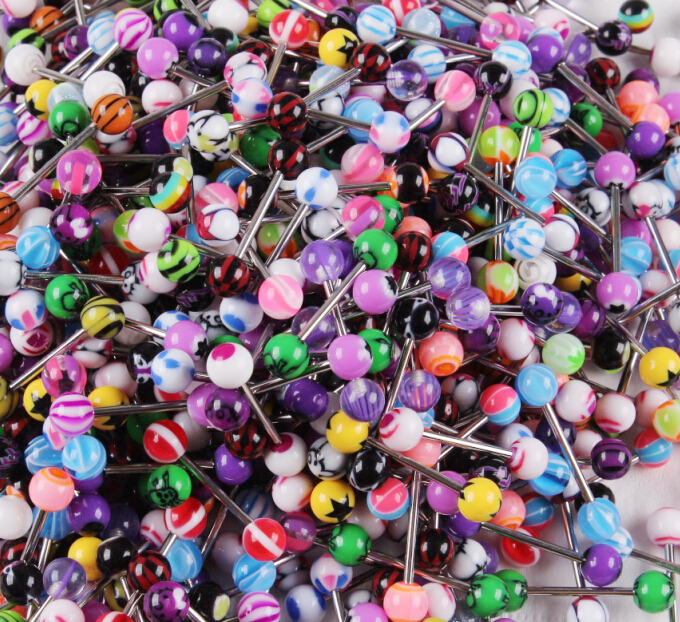 500 MIXED Tongue Ring Tounge Different BARBELL BAR BODY JEWELRY PIERCING