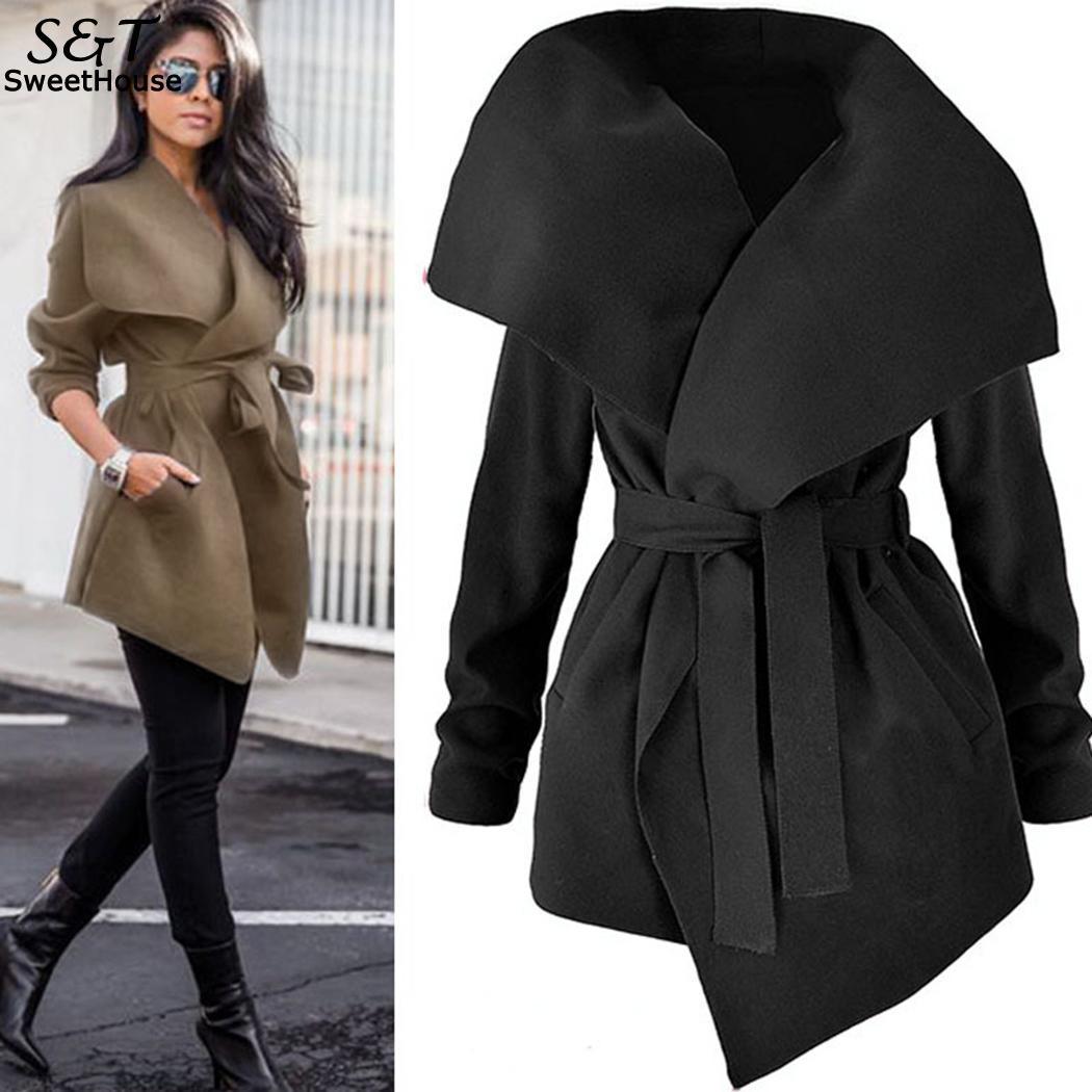 f688fc45934ab FANALA 2018 Winter Coat Women Wide Lapel Belt Pocket Wool Blend Coat  Oversize Long Red Trench