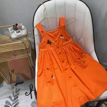 ec3701a19cc0 2019 Summer Flower Embroidery Baby Girls Clothes Orange Sleeveless Dress  Cherry Brand Boutique Dress for Girls