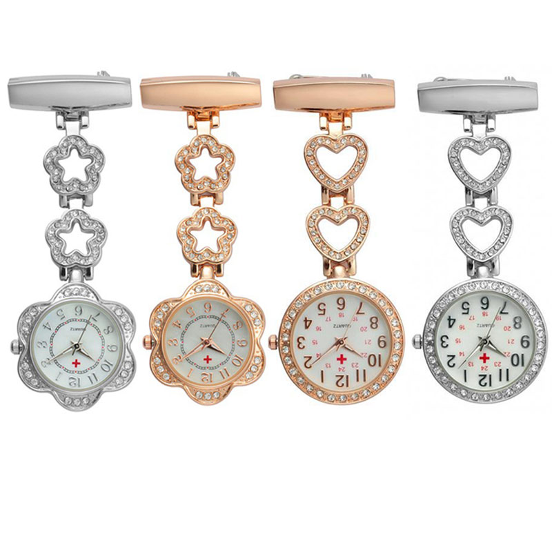 Fashion Women Pocket Watch Clip-on Heart/Five-pointed Star Pendant Hang Quartz Clock For Medical Doctor Nurse Watches LX TT@88