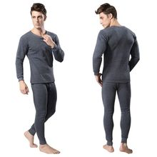 2Pcs Winter Warm Men Cotton Thermal Underwear Sets Long John