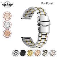 Ремешок из нержавеющей стали для часов Fossil 16 мм 18 мм 20 мм 22 мм 24 мм, мужской и женский металлический ремешок, браслет на запястье, серебристый,...