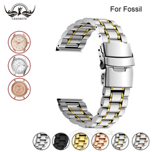 Stainless Steel Watch Band for Fossil 16mm 18mm 20mm 22mm 24mm Men Women Metal Strap Belt Wrist Loop Bracelet Silver Black + Pin stainless steel watch band 20mm 22mm for diesel quick release metal watchband strap wrist loop belt bracelet black silver gold
