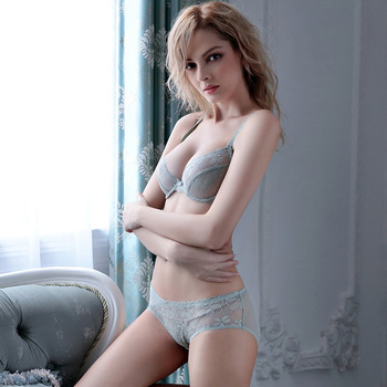 Transparent Floral Lace Sexy Ultrathin Bra And Brief Set 1
