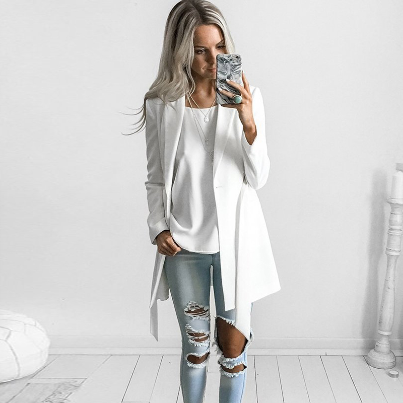 YNZZU New OL Belt long suit blazer femme Spring cool slim white ladies blazer Women coat jacket casual outwear Mujer YO116
