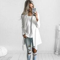 YNZZU New OL Belt Long Suit Blazer Femme Autumn Cool Slim White Ladies Blazer Women Coat