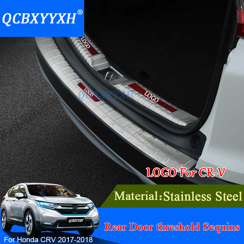 Stainless Steel Trunk Rubber Rear Guard Bumper Protector Trim Cover Rear Bumper Protector Sill Car For Honda CRV CR-V 2017 2018 for vw tiguan l rear bumper protector tailgate trunk guard cover covers volkswagen 2017 stainless steel car styling accessories