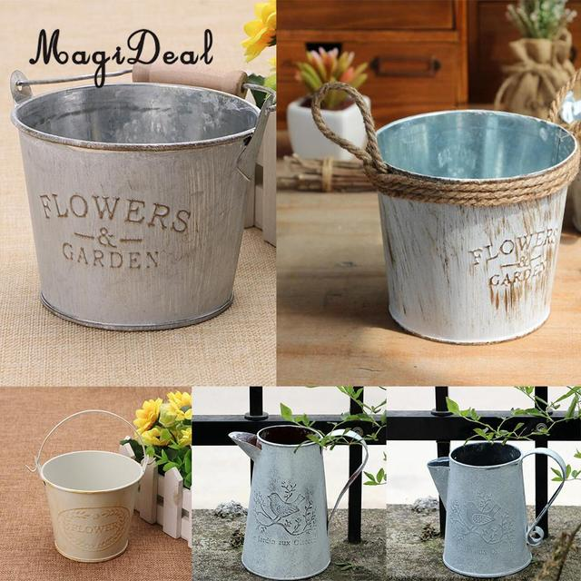 Vintage Metal Tin Flower Bucket Plants Herb Pot Tabletop Vases