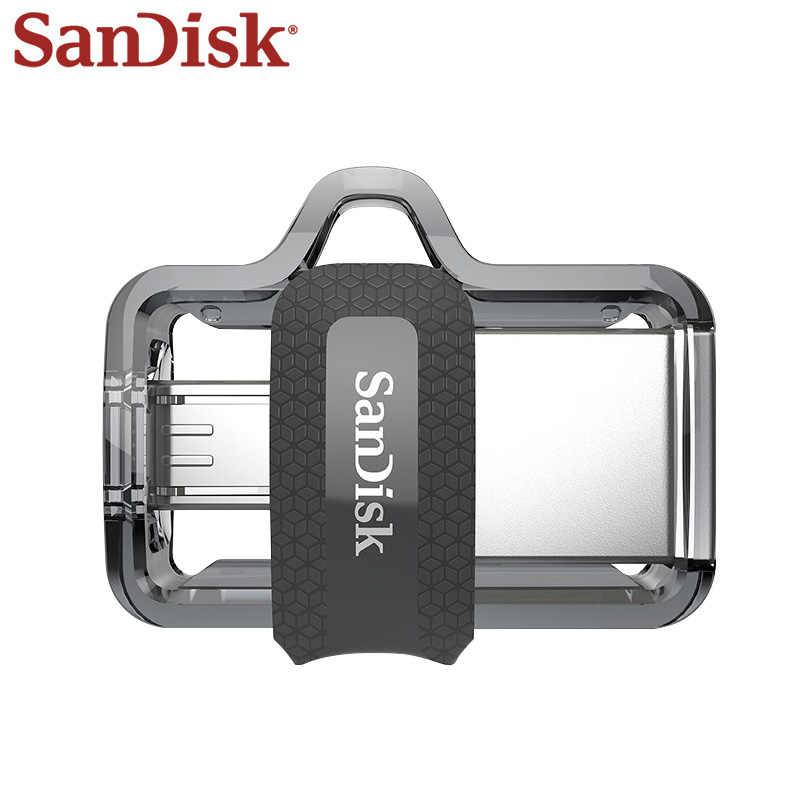 Натуральная двойной флеш-накопитель SanDisk Ultra двойной OTG usb флэш-накопитель DD3 150 МБ/с. флешки 16 Гб оперативной памяти, 32 Гб встроенной памяти, 64 ГБ 128 ГБ USB 3,0 флеш-накопитель для телефонов на базе Android с Bluetooth/ПК