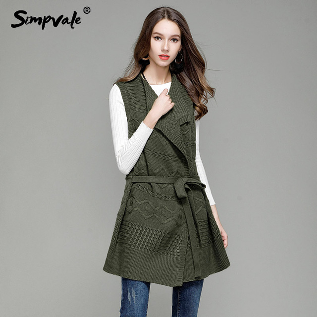 2c087e7b2 US $23.29 31% OFF|SIMPVALE Sleeveless Long Knitted Vest Women Stripes Weave  Loose Sweater Coat With Belt Female Turn down Collar Knit Cardigans-in ...