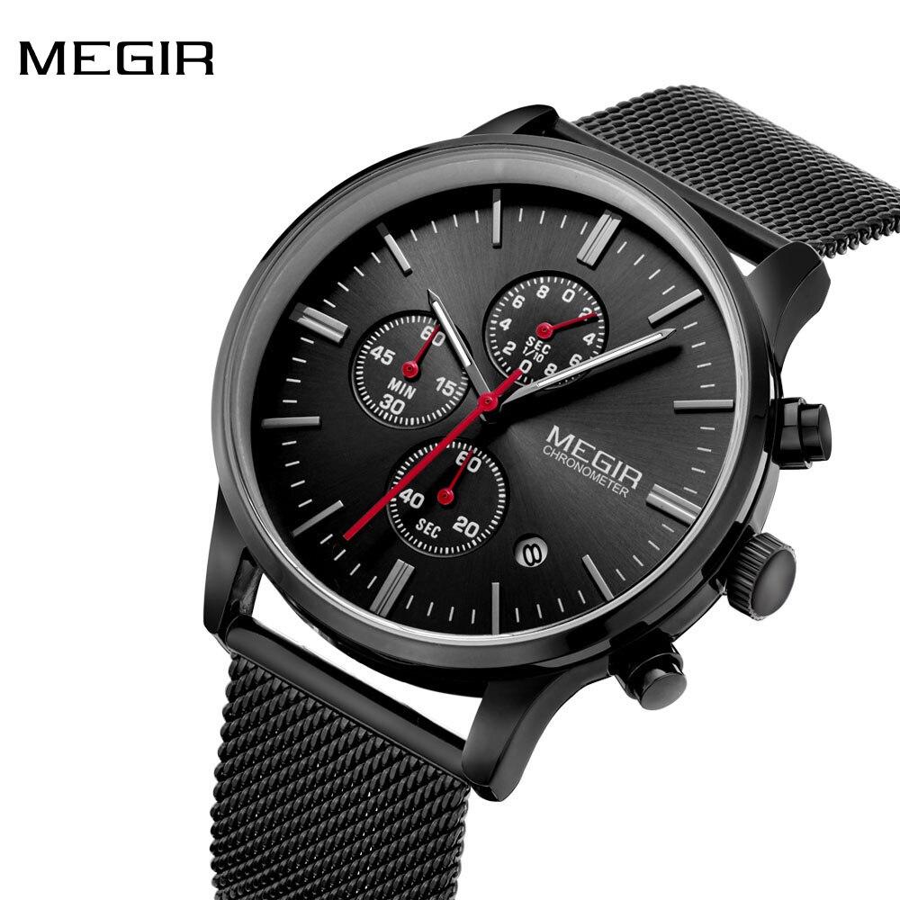 fdd22b472ee92 MEGIR MS2011G hommes montres Top marque de luxe montre à Quartz hommes  horloge homme montre bracelet hommes montre homme relogio masculino dans  Montres à ...