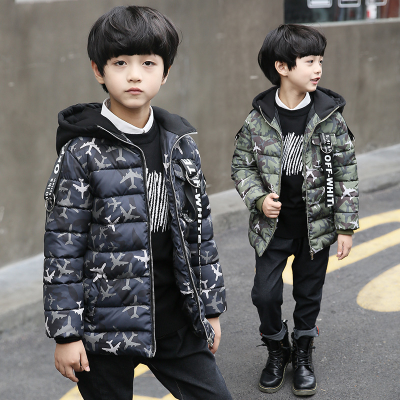 Children 's clothing 3 4 5 6 7 8 9 10 11 12 years old children' s thick section hooded cotton jacket 2017 new winter boys jacket