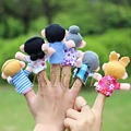 2015 Hot Sales 6x Cartoon Biological Animal Finger Puppet Plush Toys Dolls Child Baby Favor Free shipping