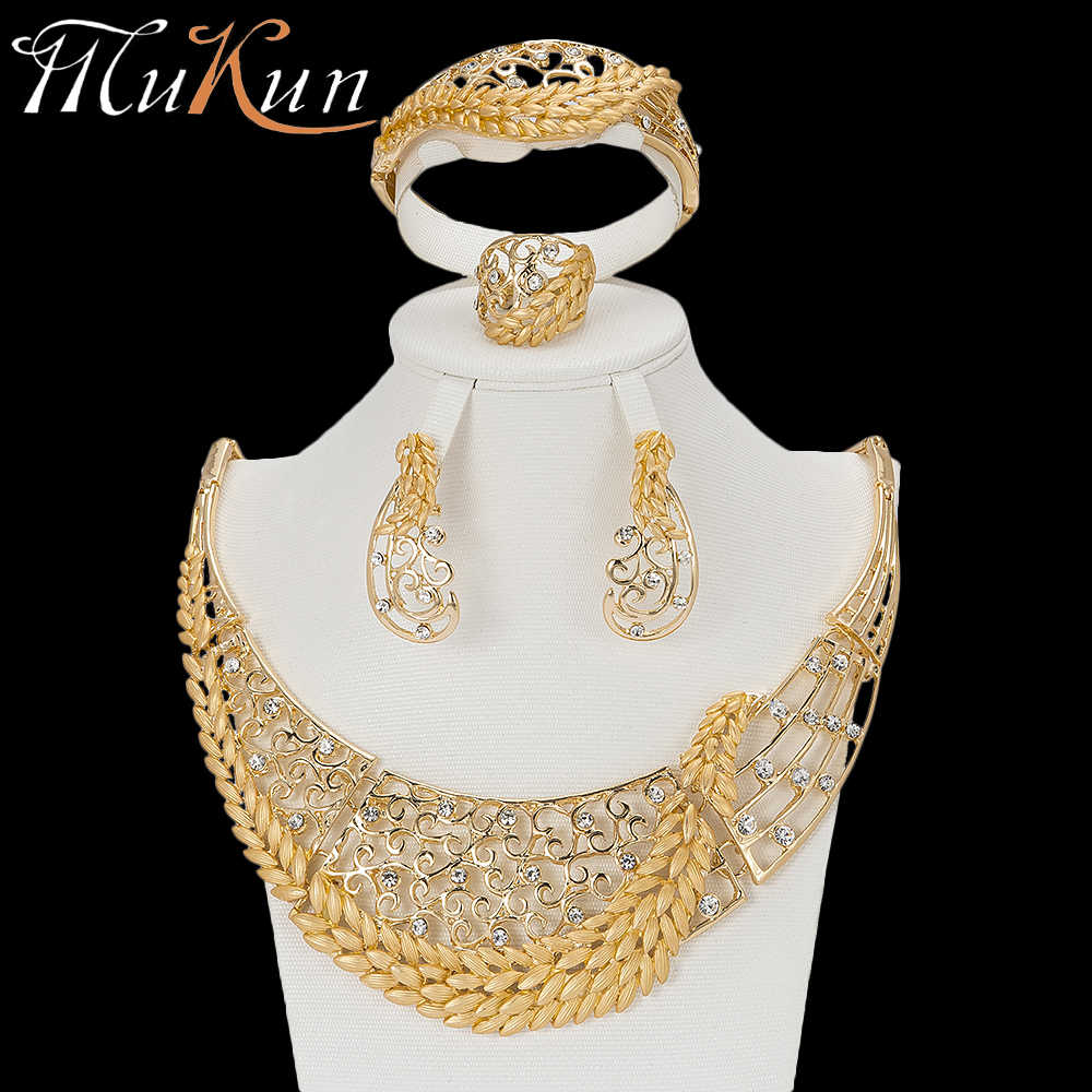 MuKun crystal African Beads Jewelry Set Nigerian Wedding For Women necklace ethiopian jewelry wedding gold set costume jewellery