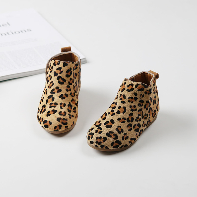 8f8186c89f17 Fashion Girls Boots children leather boots leopard girls winter shoes ankle  boots for toddler girls