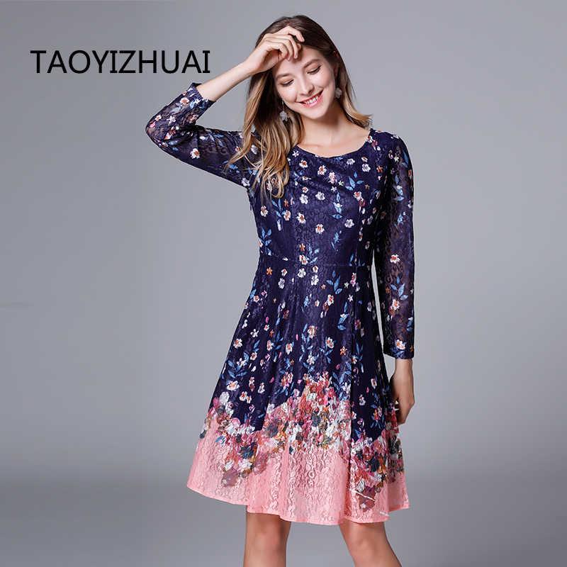 TAOYIZHUAI 2019 New Arrival Spring High Street Plus Size 100% Spandex Short  & Full Length Draped Floral Lace Dress Women 11668