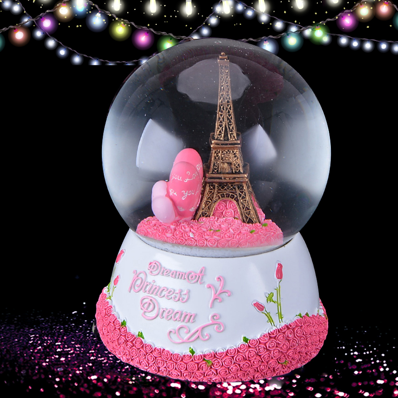 WR Paris Eiffel Tower Snow Globe Music Box With Pink Heart Best Wedding LOVE Decoration Gift
