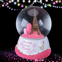 WR Paris Eiffel Tower Snow Globe Music Box With Pink Heart Best Wedding LOVE Decoration Gift For Chriatmas New Year