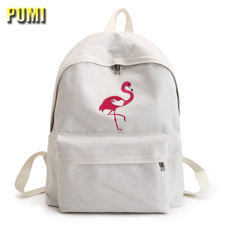 Simple Embroidered Fresh Canvas Big Backpack Preppy Style Casual Student School Book Bag for Teenager Girl Female Daily Rucksack  pleega new 2017 preppy style student leisure school bag teenagers girl canvas backpack boy school backpack big backpack notebook