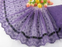 Wholesale lot 6*1yard delicate Purple embroidered flower tulle lace trim with black ribbon DIY/sewing/Wedding Lace 63