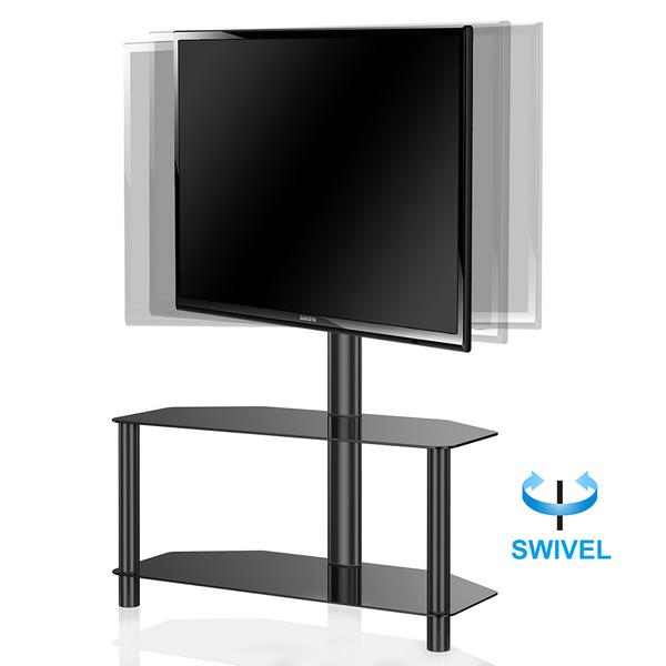 Fitueyes Universal Swivel Floor TV Stand with Mount 2 Tempered glass shelf for 32 39 40 42 43 49 50 inch Tv TW209001MB