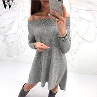 WYHHCJ 2017 new warm knit women sweater dresses Off the shoulder autumn/winter women Casual dress robe