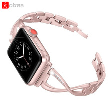 Kobwa Ladies Watch Band Strap for Apple Watch Bands 38mm/42mm diamond Stainless Metal Strap for iwatch collection Three 2 1 Bracelet