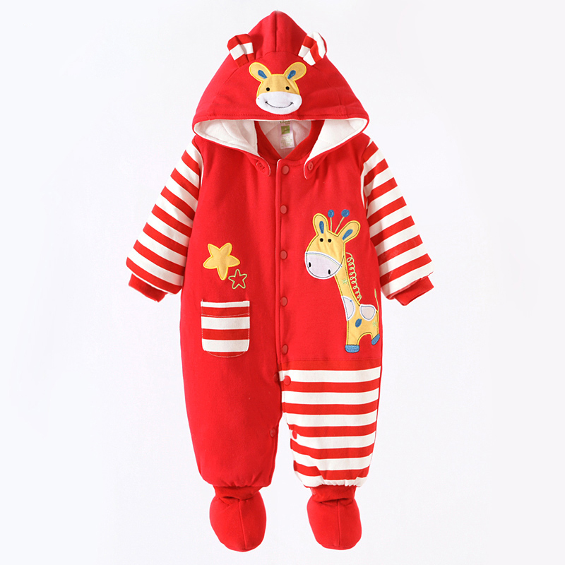 2016 New Fashion Giraffe Overall Animal Rompers Cartoon Boy/Girl Outerwear Winter Cotton Infant Clothes Bebe Clothing