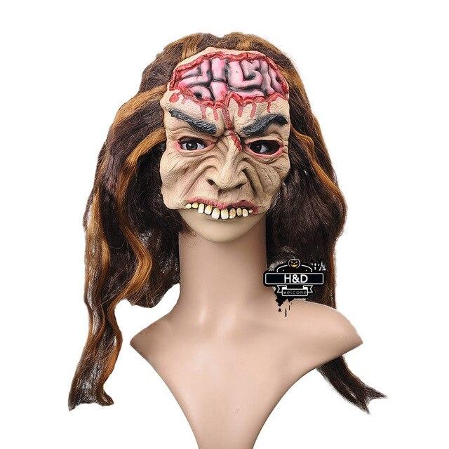 Spaventoso Maschera Maschera Del Fantasma Del Cervello Capelli Lunghi  Maschera In Lattice Diavolo Maschera di Halloween f44c0afc037b