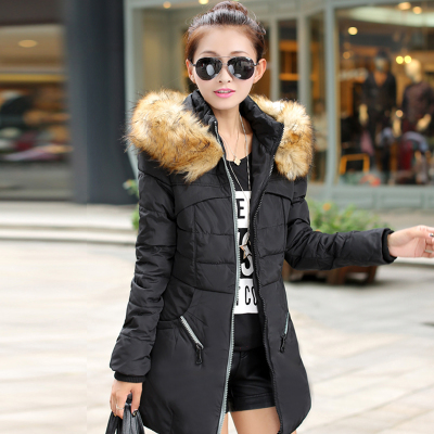 ФОТО Nice New Cotton Winter Jacket Women Comfortable Hooded Fur Collar Coat Female Long Thick Plus Size Women's Winter Jacket AW1115