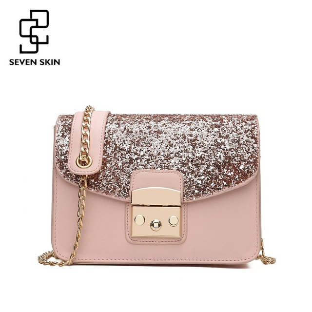 Special Offers SEVEN SKIN Women Sequined Messenger Bag Fashion Women s  Leather Small Flap Bag Chain Strap Female Shoulder Crossbody Bags Bolsa e4b2aa917b7b4