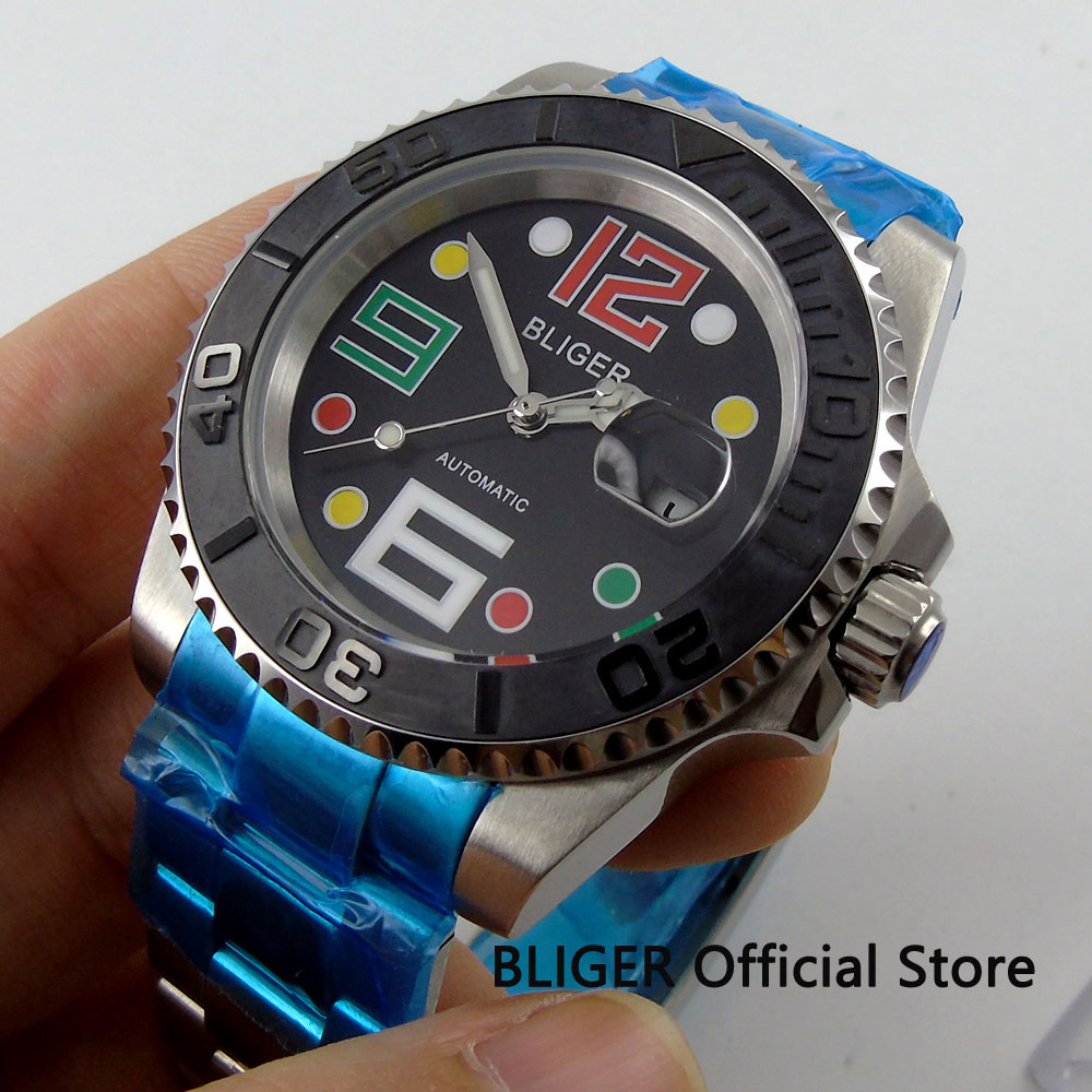 Sapphire Glass BLIGER 40mm Black Dial Black Brushed Ceramic Bezel Date Magnifier Miyota Automatic Movement Men's Watch 27C комплект мебели aquanet доминика 172411
