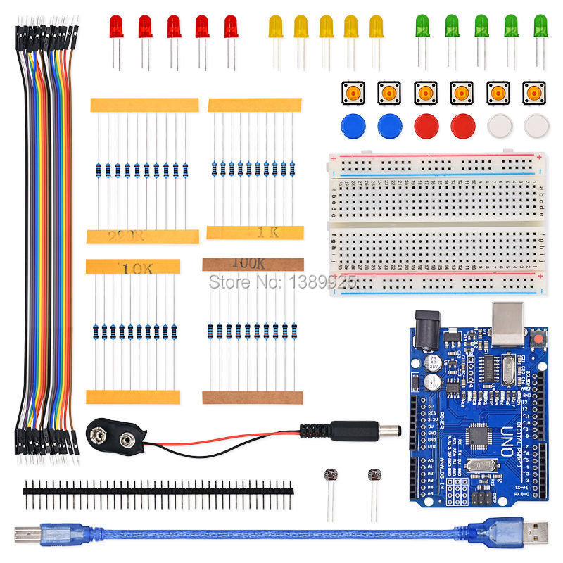 Free Shipping 1set New Starter Kit UNO R3 Mini Breadboard LED Jumper Wire Button For Ar-du-ino Compatile