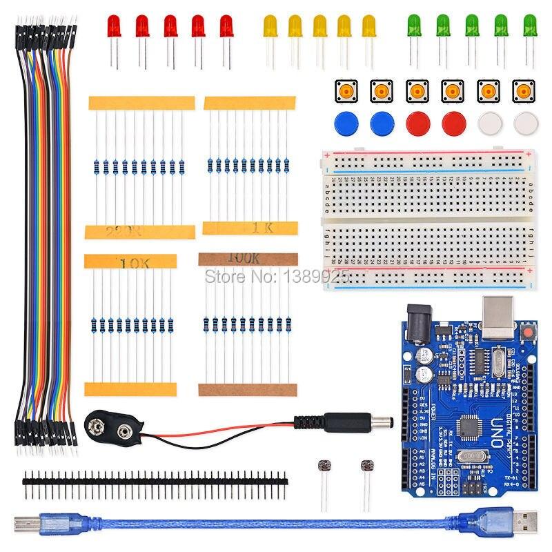 Trasporto Libero 1 set nuovo Starter Kit UNO R3 mini Breadboard pulsante ponticello LED per Ar-du-ino compatile