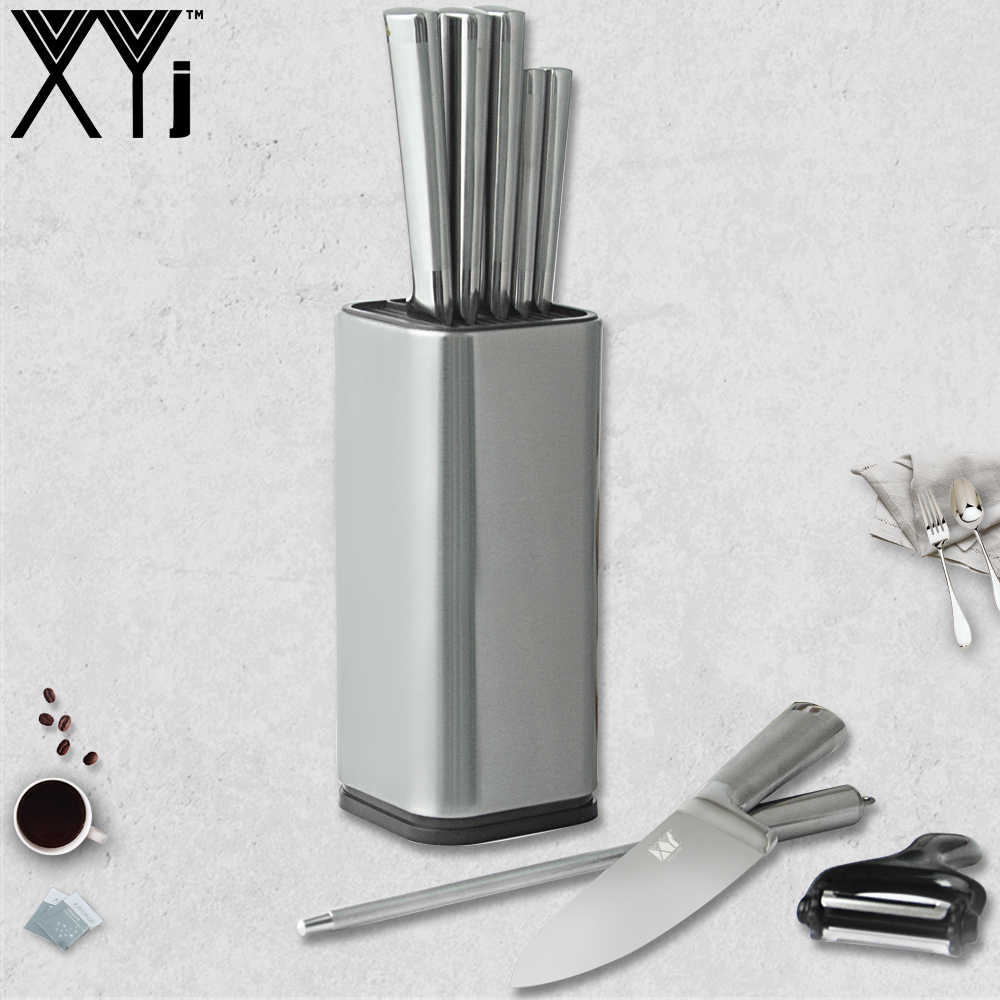 XYj Stainless Steel Kitchen Knives Set Cooking Knife Holder Stand Block Knife Sharpener Multifunctional Peeler Tools Accessories