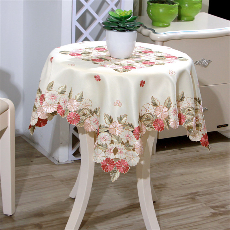 Square 85 85cm Cutwork Handmade Embroidered Table Cloth