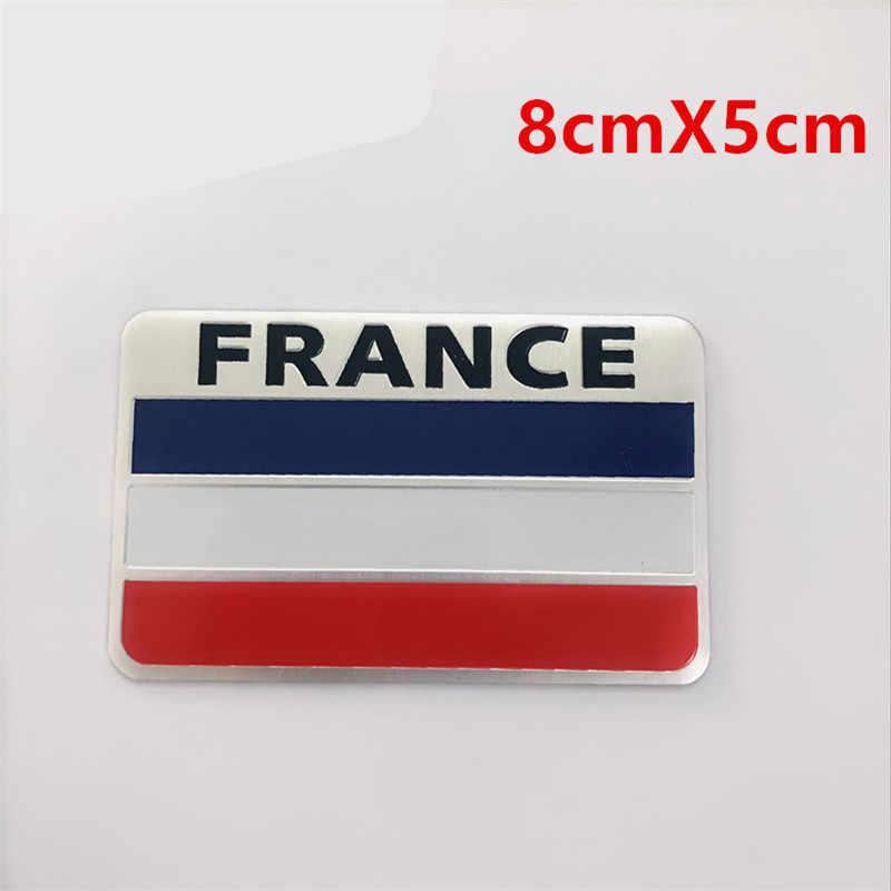 Aleación de aluminio América Francia Inglaterra banderas nacionales estilo coche motocicleta Calcomanía para equipajes emblema insignia coche pegatina