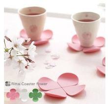 Розовый цветок anti hot silica gel coaster подставка для кофейной