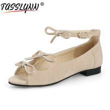 TASSLYNN 2019 Sweet Style Women Sandals Elegant Flock Square Low Heels Shoes Buckle Strap Casual Size 34-43