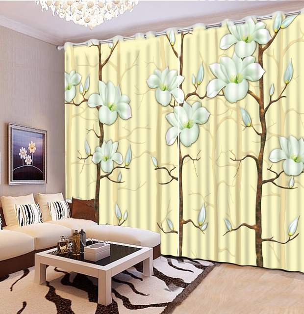 US $51.6 57% OFF|Modern Living Room Curtains yellow flower Blackout  Curtains For Window Brief Polyester/Cotton Thick Curtain Drapes-in Curtains  from ...