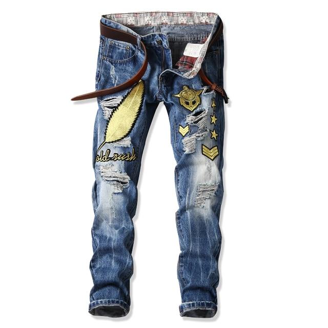 09b01367ae Summer Plus Size Designer Vintage Retro Jeans Men Worn Denim Trousers  Fashion Light Blue Straight Jeans Stitching Multi Hole