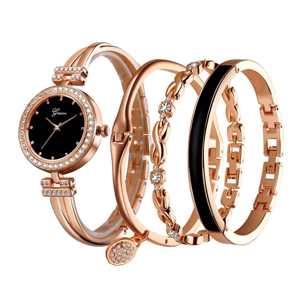 Luxury Watch Women 4 PCS Set Rose Gold Diamond Jewelry Bracelet Watch