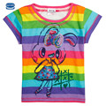Nova niños marca moda casual o-cuello de la camiseta del verano de la muchacha ropa de los niños camisas de manga corta animal impreso
