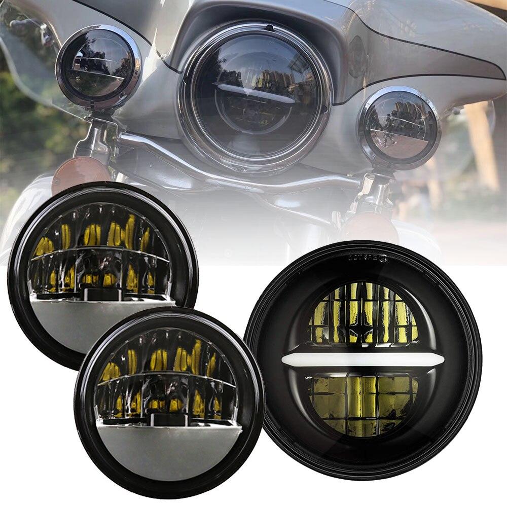 Marlaa 7 LED Headlight Halo Headlamp + 2x 4-1/2  LED Auxiliary Spot Fog Passing Light Lamp For MotorcycleMarlaa 7 LED Headlight Halo Headlamp + 2x 4-1/2  LED Auxiliary Spot Fog Passing Light Lamp For Motorcycle