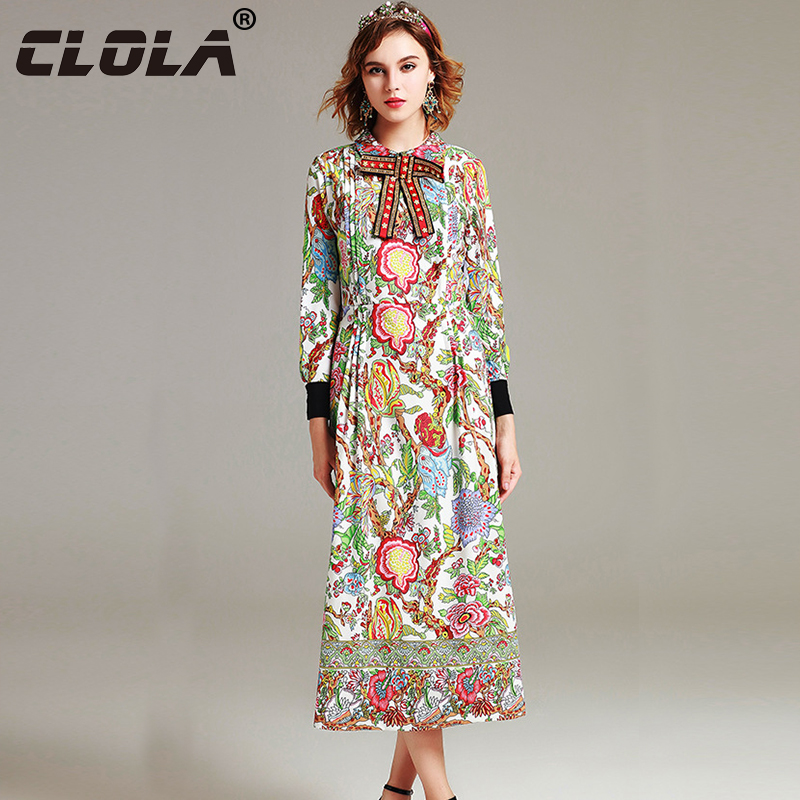 Clola Women Long Dress 2017 Arrival Autumn Straight