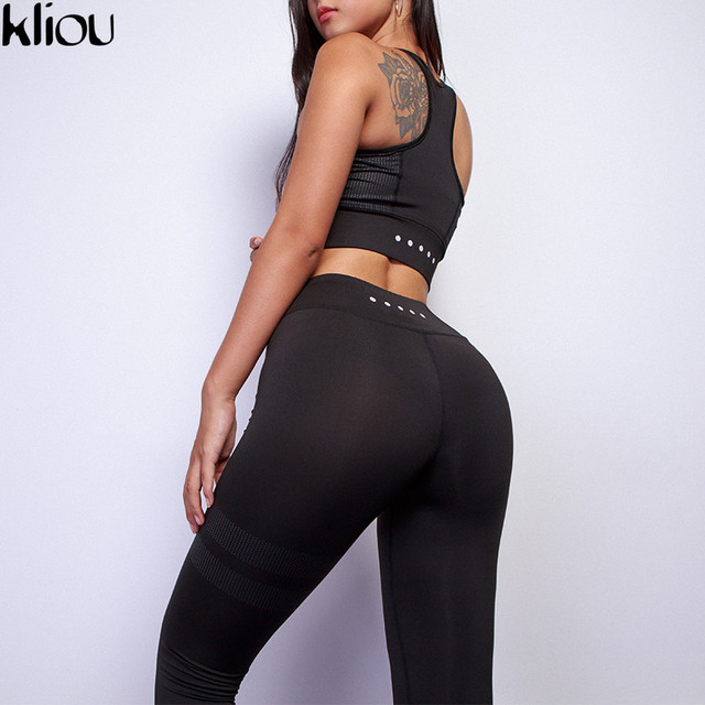 Kliou 2018 Women fitness Two Piece Set Women Sexy Set Sporting Bra sporting Top+Long workout Pants High-Quality workout Suits 5