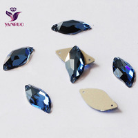 Sapphire 3254 Leaf 9x20mm 14x30mm Flat back Rhinestones Crystal Sew on Stones Glass Crystals Sewing Rhinestones For Clothes